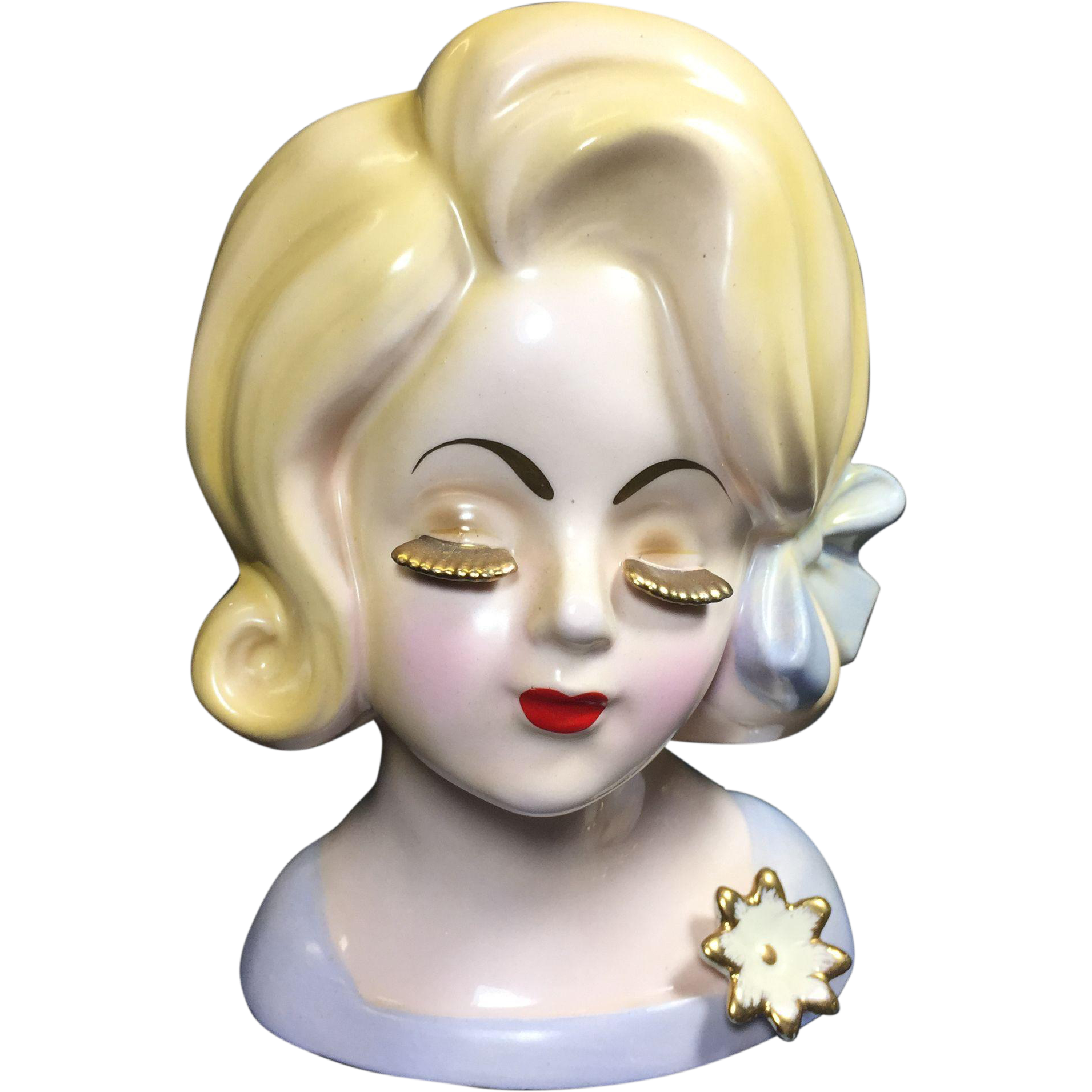 Sweet Lady Head Vase w Gold Lashes & Pale Blonde Hair & Skin