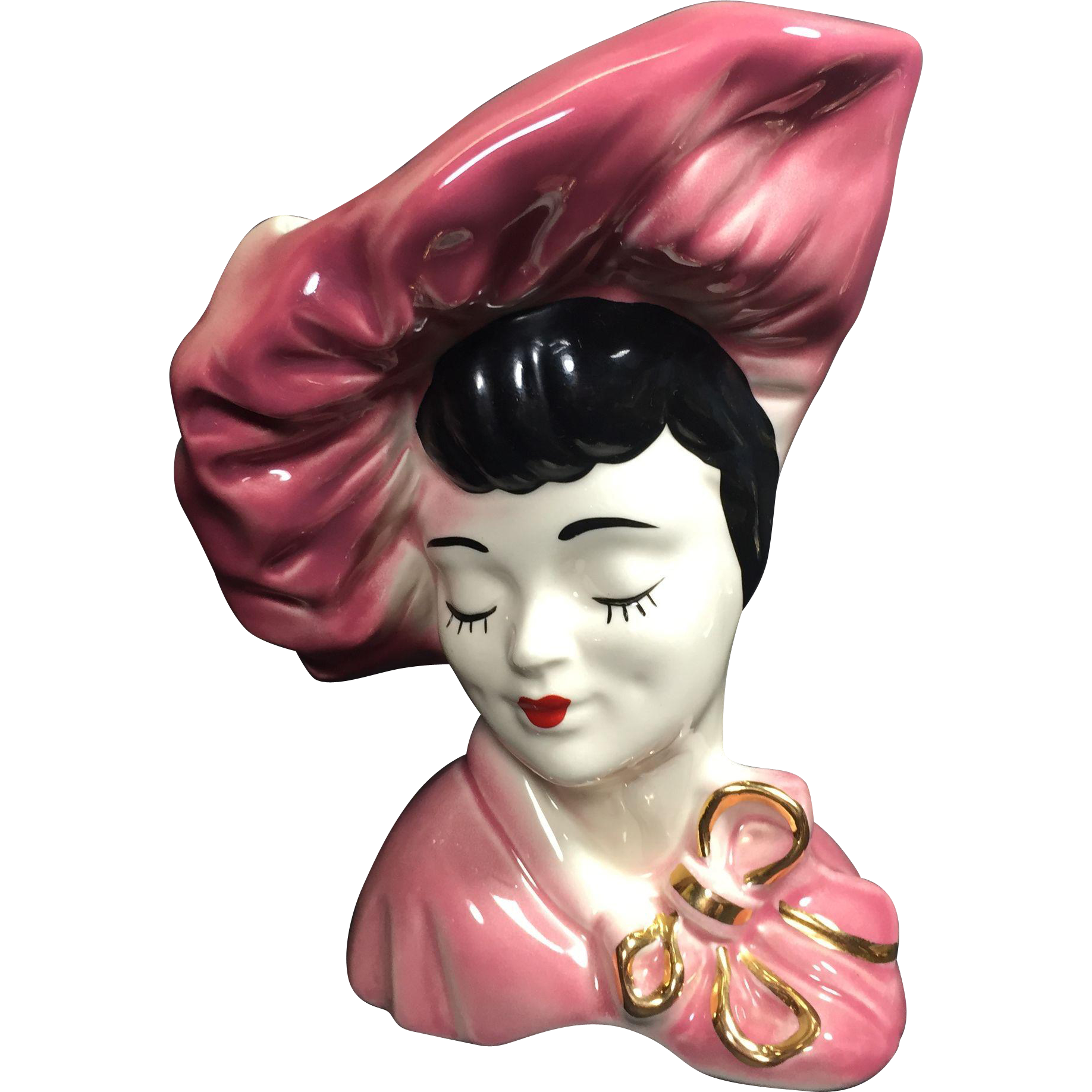 Vintage Lady Head Vase Large Glamour Girl in Pink Beret