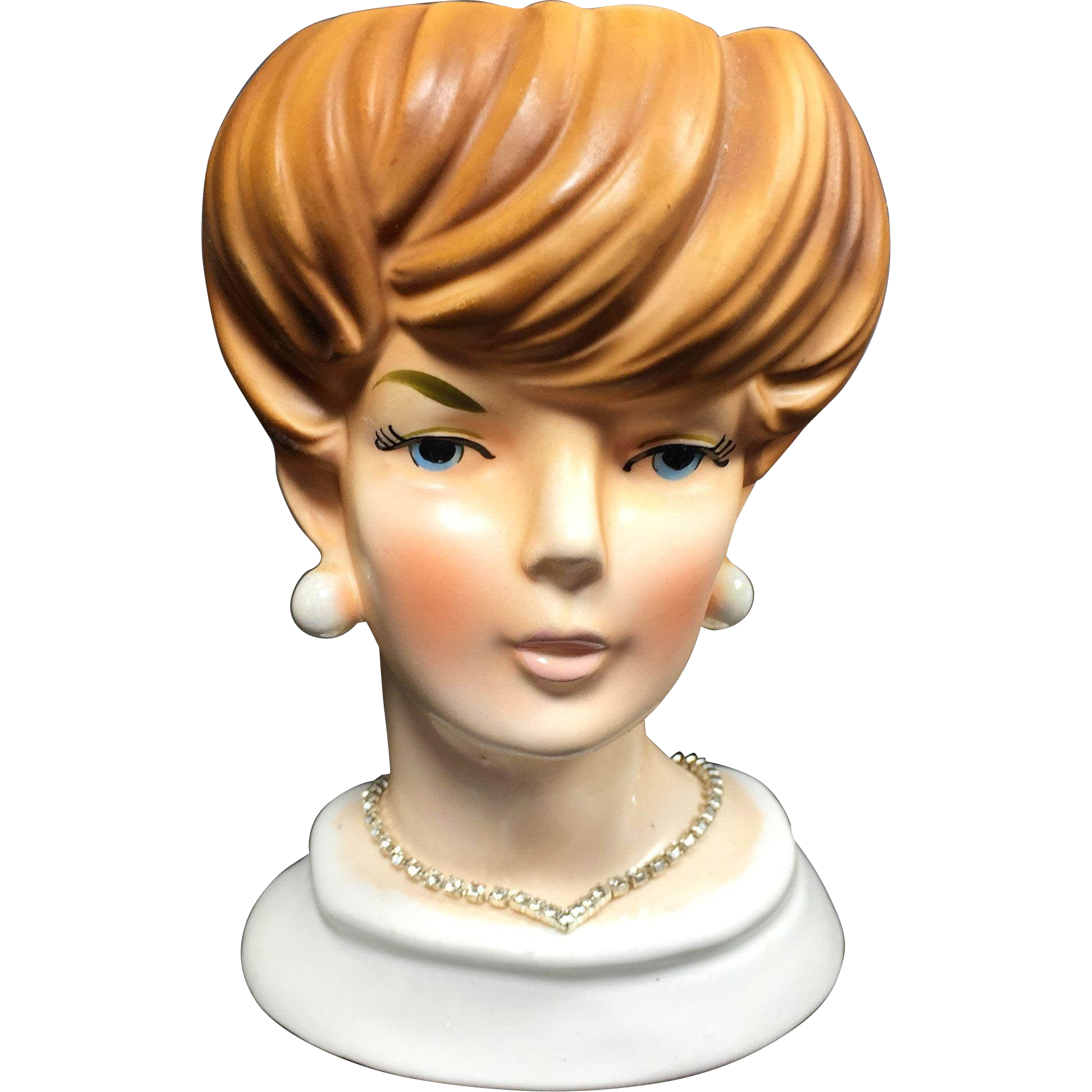 Space Age Vogue Lady Head Vase w Rhinestone Necklace (Your Bracelet)