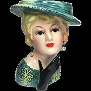 Lefton Lady Head Vase in Green w Black Glove