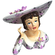 Lefton Southern Belle Lady Head Vase w Huge Bonnet & Collar