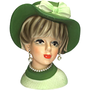 Napco Lady Head Vase w Floppy Hat in Green
