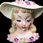 1950's Napco Lady Head Vase w Flowers & Pearls