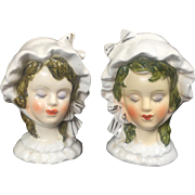 Lady Head Vase w Bonnet Salt & Pepper Shakers