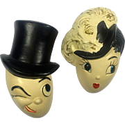 Gay Nineties Caricature Man & Lady Head Wall Plaques