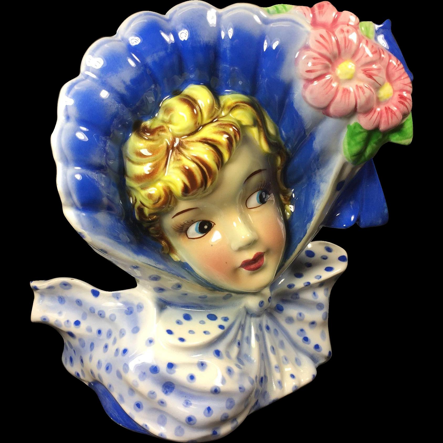 Vintage Lady Head Vase w Huge Bonnet & Polka-Dot Neck Bow