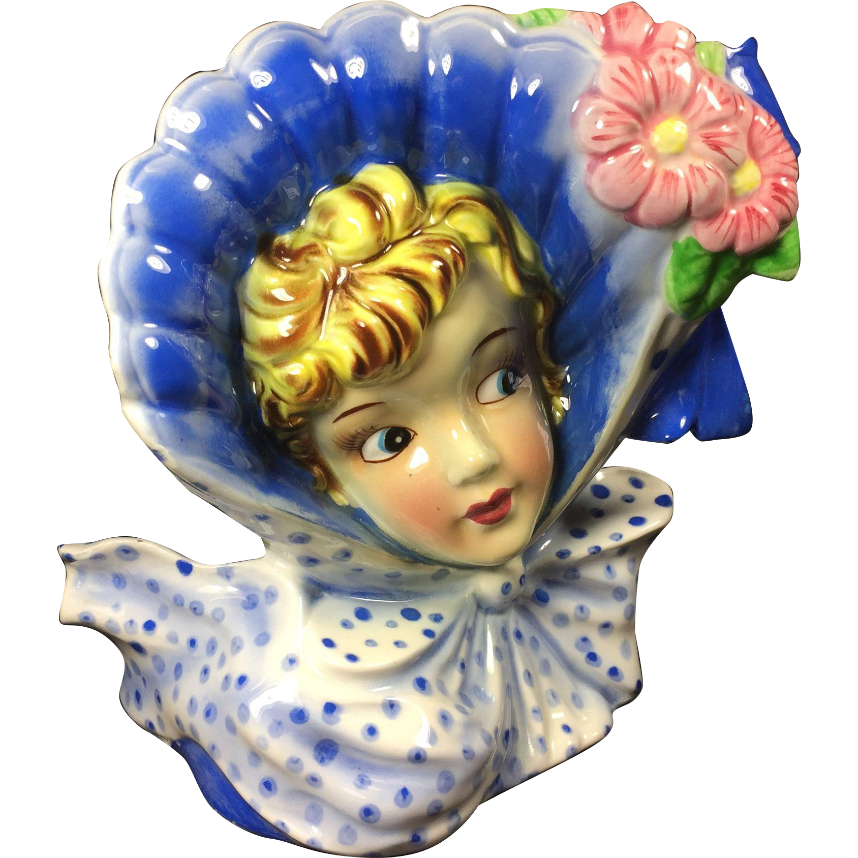 Vintage Lady Head Vase w Huge Bonnet & Polka-Dot Neck Bow