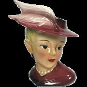 Vintage Lady Head Vase w Feathers on Hat