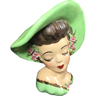 Vintage Lady Head Vase Glamour Girl w Applied Roses