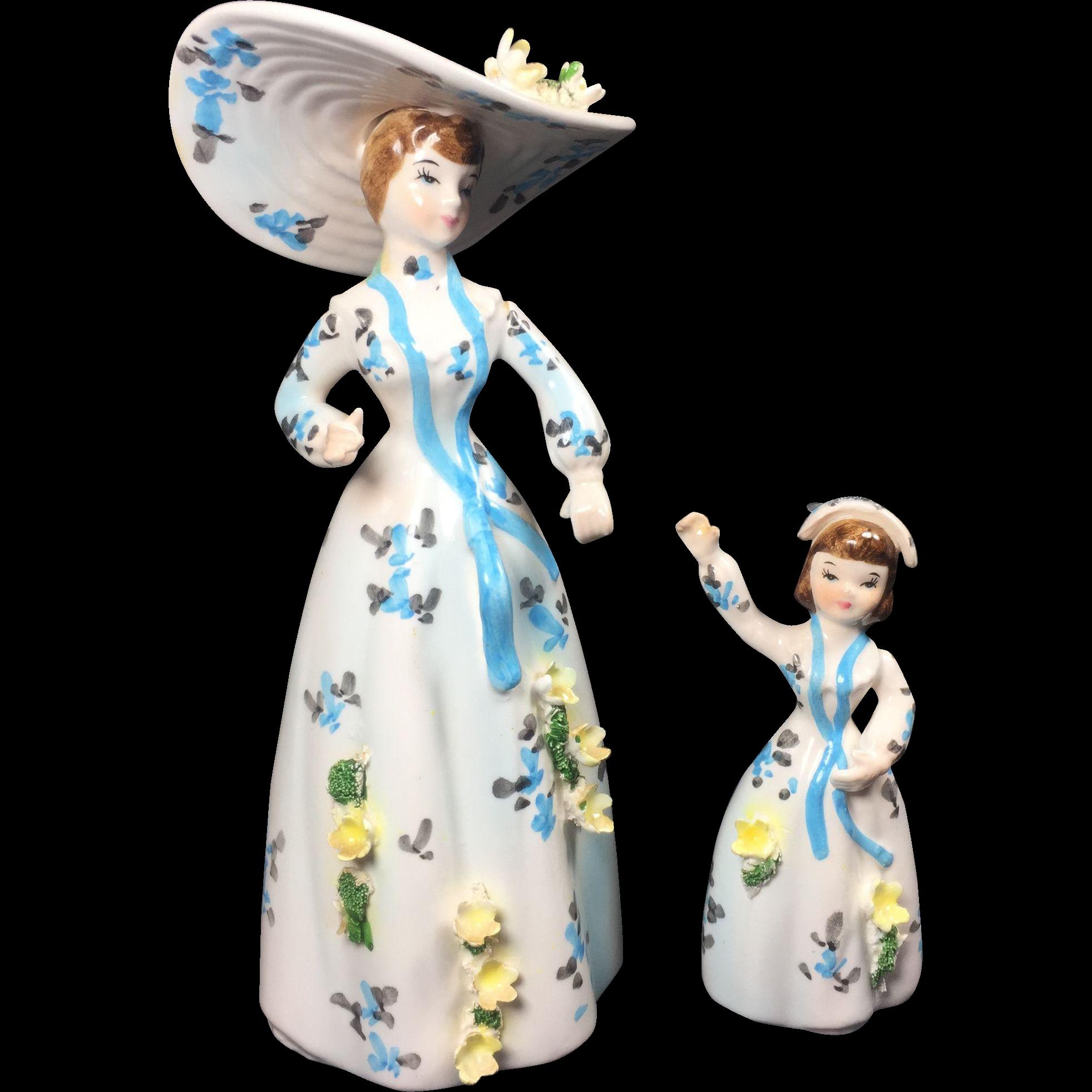 Vintage Lefton Lady & Child Figurines Match Head Vase