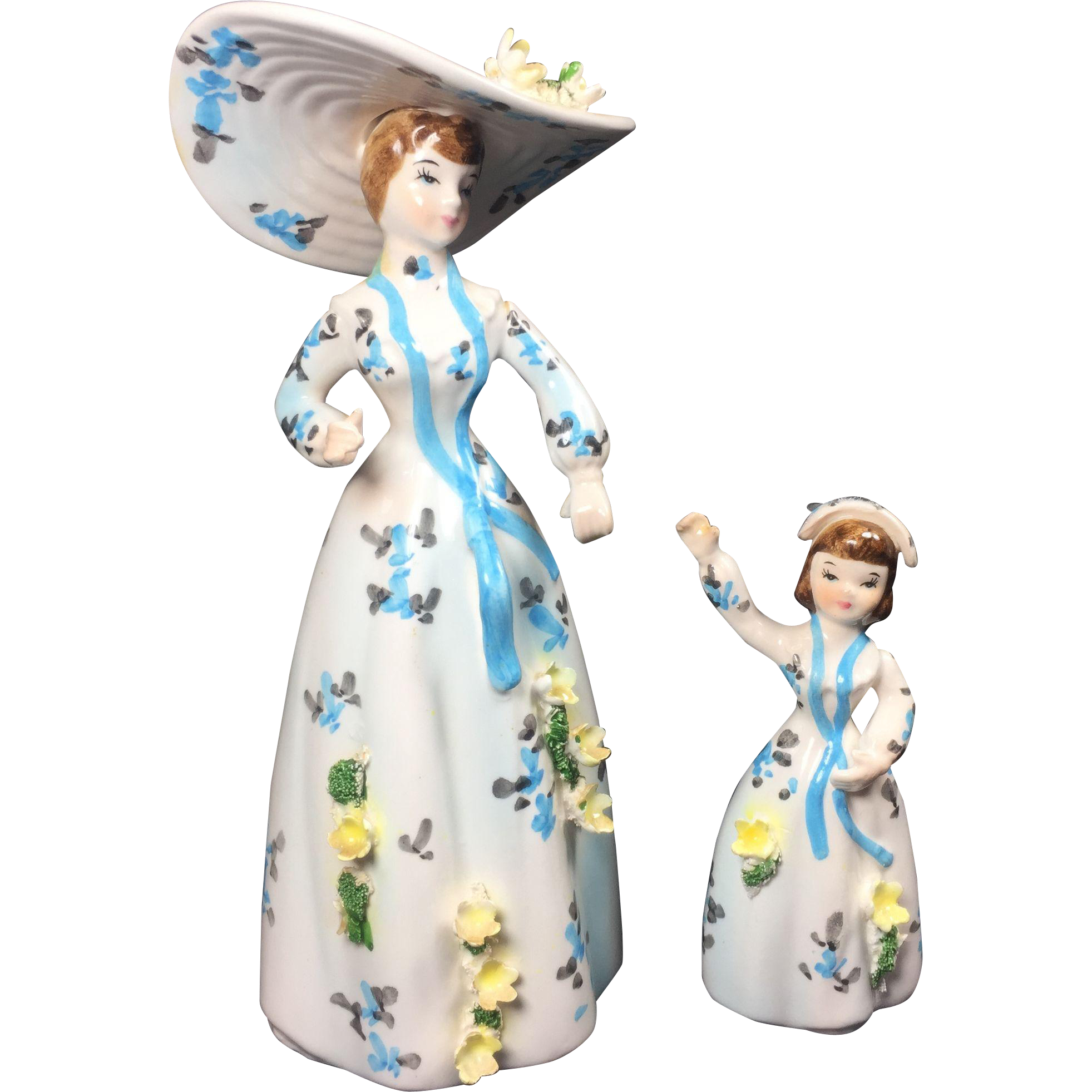 Vintage Lefton Lady & Child Figurines Match Head Vase