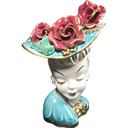 Vintage Lady Head Vase Glamour Girl Huge Applied Roses Hat