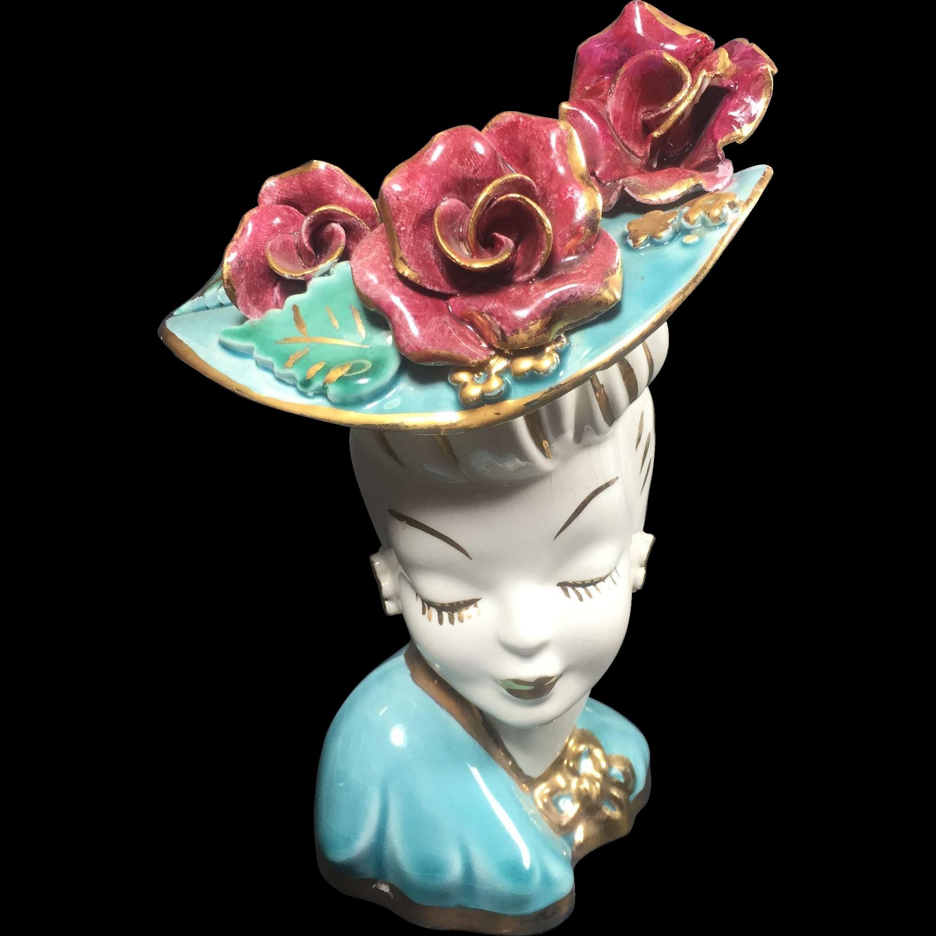 Vintage Lady Head Vase Glamour Girl Huge Applied Roses Hat