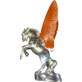 Vintage Car Hood Ornament Pegasus Prancing Horse Orange Plastic Wings