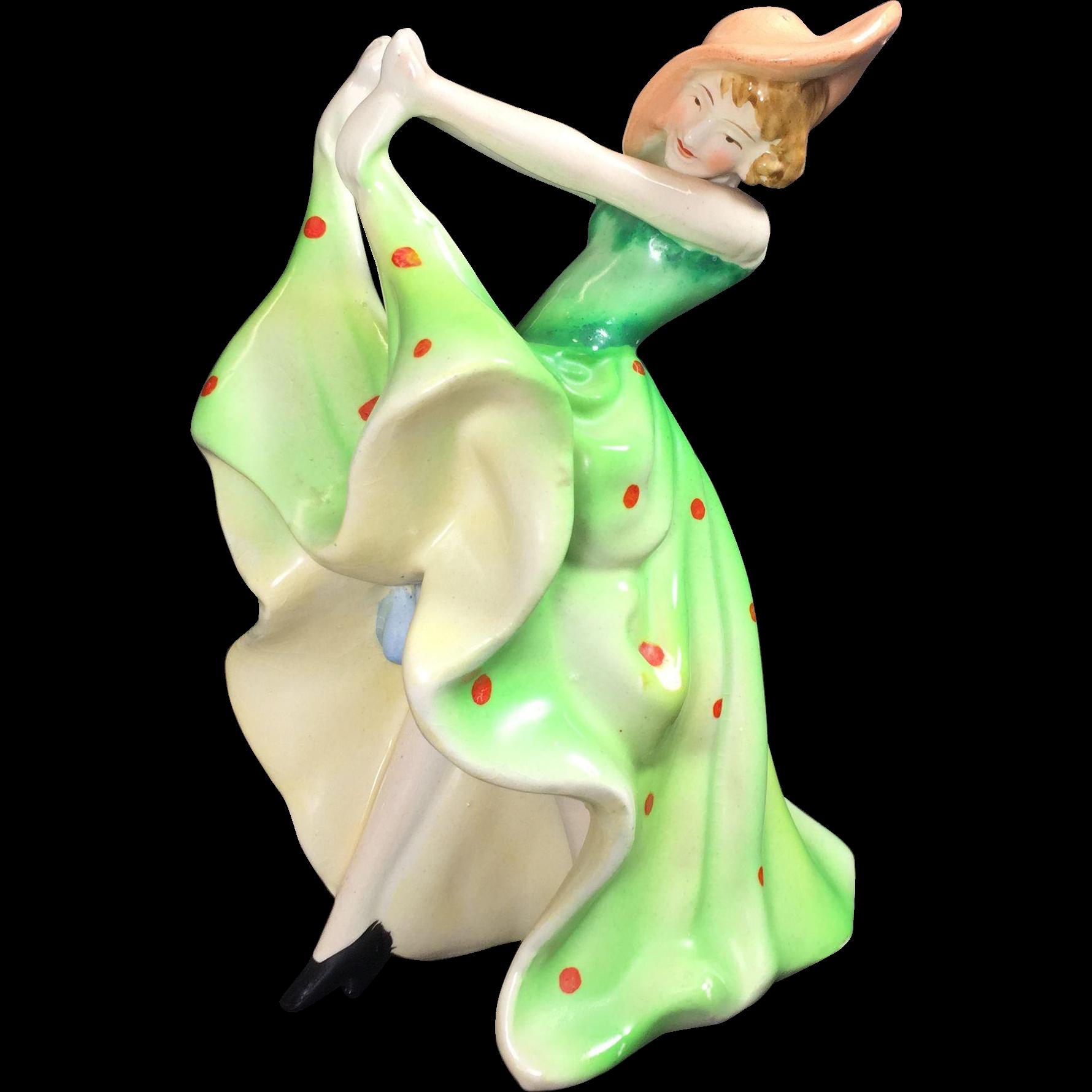 Vintage Art Deco Lady Flapper Figurine Japan Ceramic