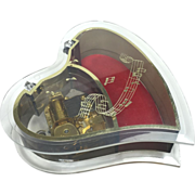 Lucite Heart Shaped Musical Jewelry / Trinket Box - Red Tag Sale Item