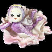 Napco Ceramic Pixie Fairy Flower Birthday Figurine — January, Carnation