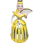 Kreiss Yellow Napkin Holder Lady w Candle Holder & Fan