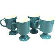Vintage Mod Turquoise Pedestal Coffee Mugs Set of Four for North Star Salem