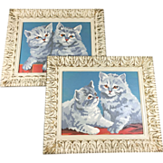 Pair Shabby Chic Paint-by-Number Kitten Art Pictures