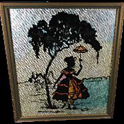 Vintage Art Deco Silhouette Picture Reverse Paint Foil