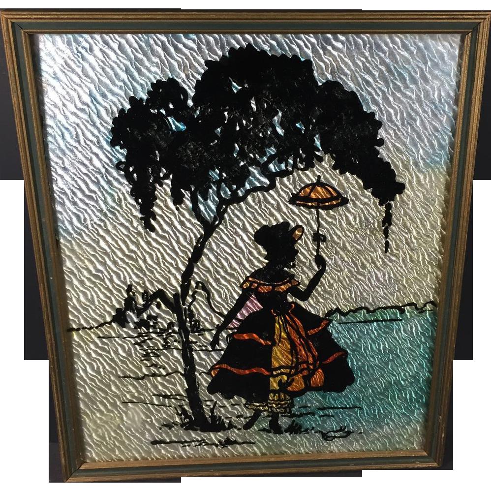 Vintage Art Deco Nouveau Silhouette Picture Reverse Painted w Foil Background