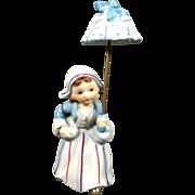 Ceramic Dutch Girl Planter Holding Umbrella