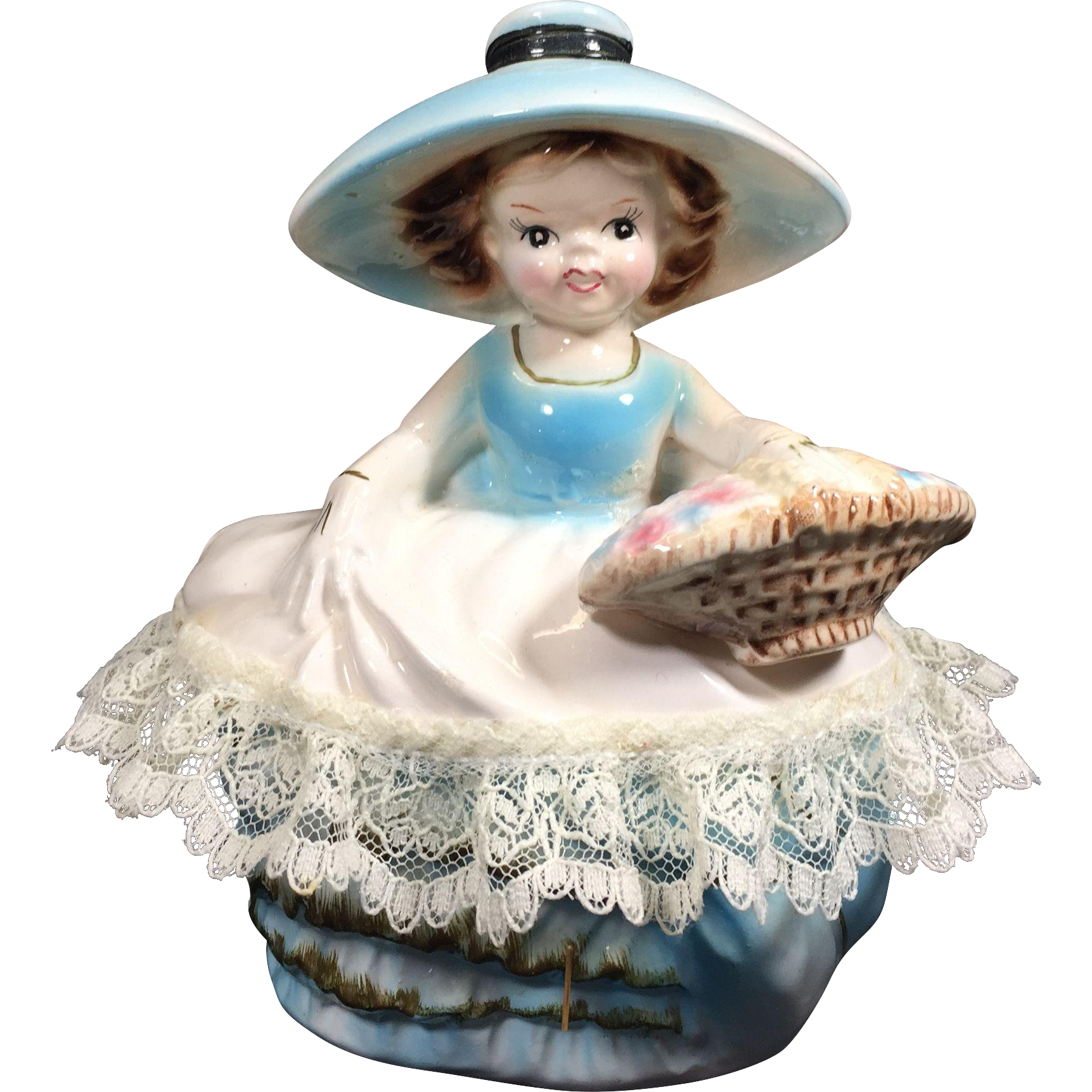 Ucagco Girl w Basket Covered Dresser / Vanity Dish