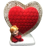 Napco Kitschy Red Head Pixie Girl Valentine Flocked Heart Planter