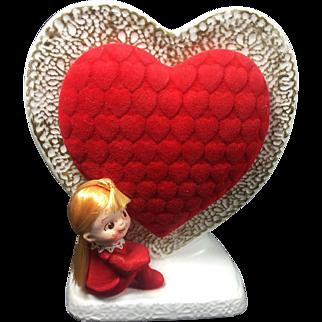 Napco Kitschy Red Head Pixie Girl Valentine Flocked Heart Planter