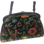 Vintage Purse Hand Bag Tapestry Black Floral Design