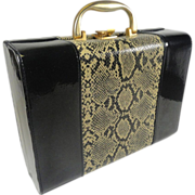 Black Patent & Faux Snake Skin Travel Vanity Case