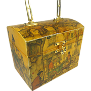 Anton Pieck Wood Box Purse w Cobblestone Dutch Village Market City Scene