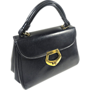 Classic Grace Kelly Navy Blue Dover Vinyl Hand Bag Purse