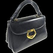 Classic Grace Kelly Navy Blue Dover Vinyl Hand Bag Purse