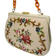 Vintage Needlepoint & Petit Point Purse Handbag w Lucite Tortoise Chain Strap - Red Tag Sale Item