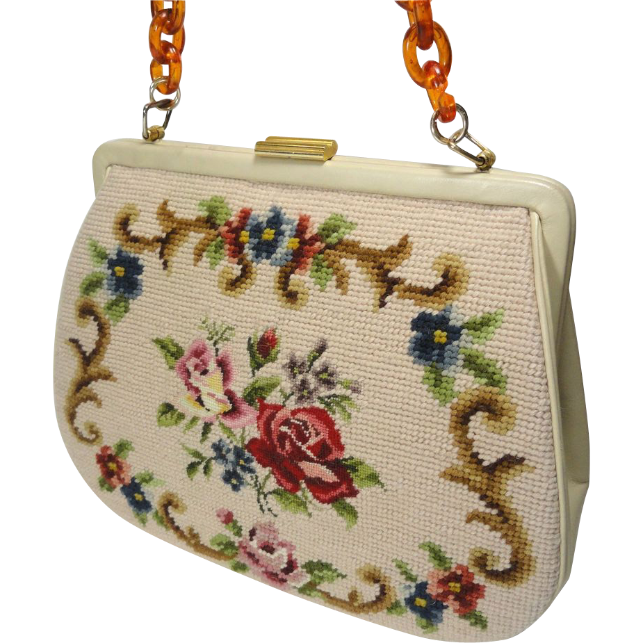 Vintage Needlepoint & Petit Point Purse Handbag w Lucite Tortoise Chain Strap