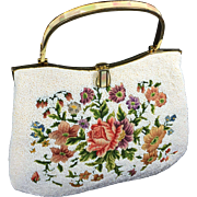 Vintage Floral Petit Point Embroidered & White Beaded Purse w Mother Pearl