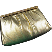 Shimmery Gold Evening Clutch Purse w Rhinestone Studded Frame