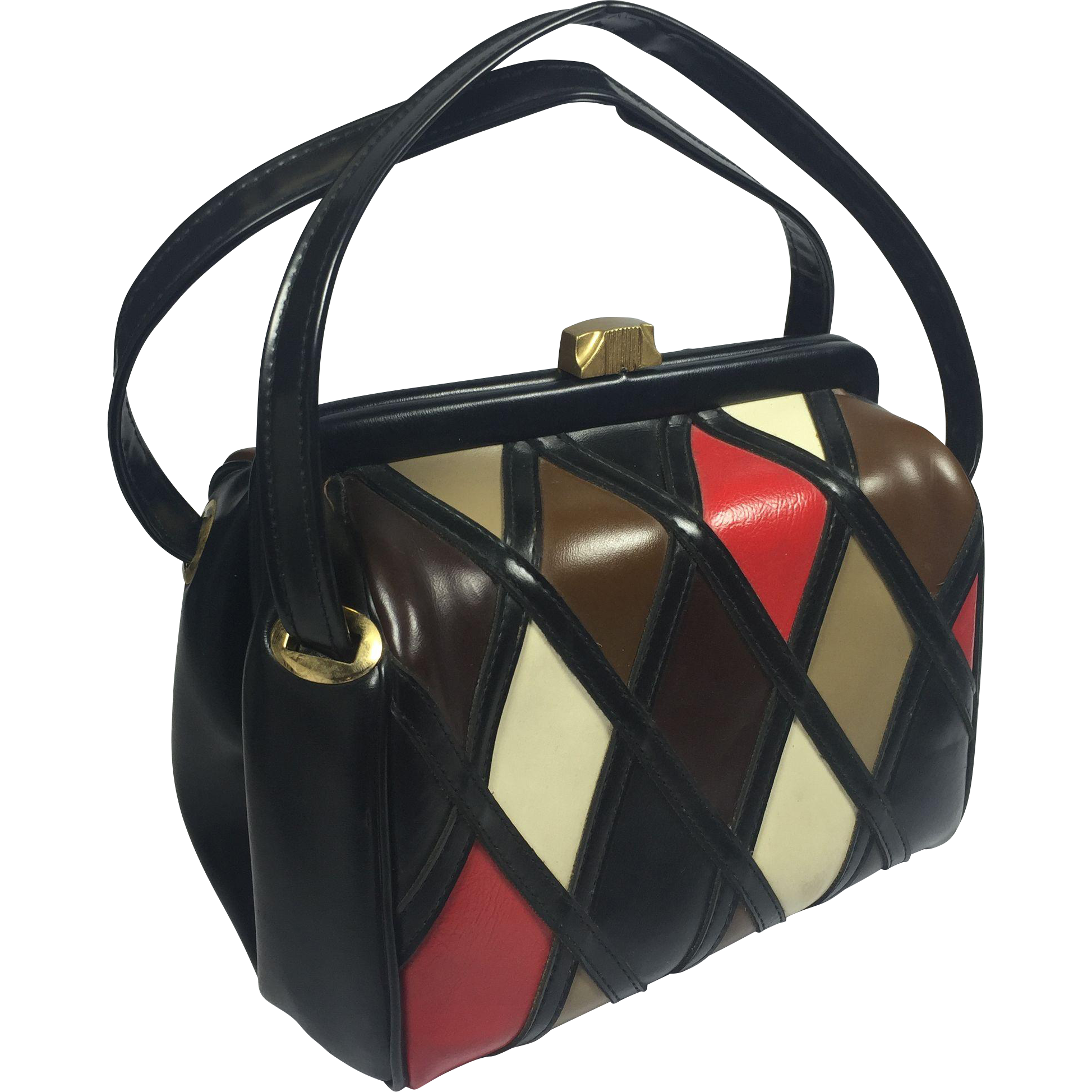 Mod Retro Diamond Pattern Vinyl Purse