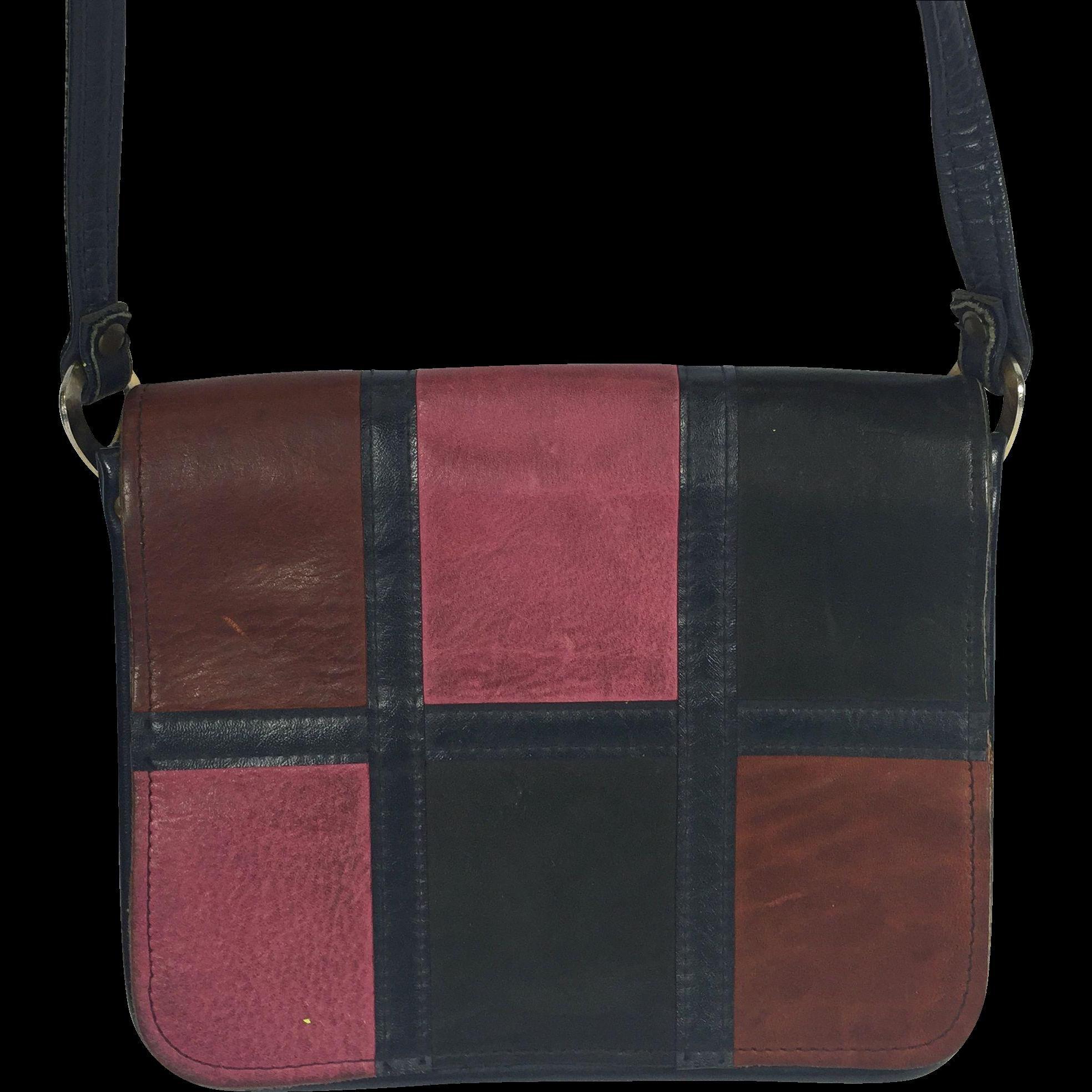 Vintage Leather Patchwork Mailbag Purse Spilene