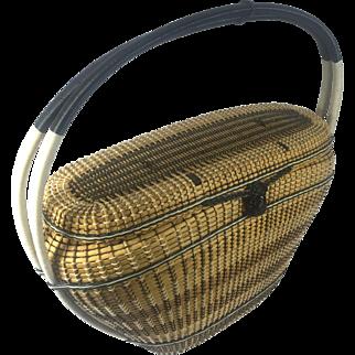 1950's Trapezoid Woven Straw & Vinyl Basket Purse