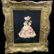Lady Ribbon Doll w Real Hair & Bouquet in Elaborate Burwood Frame
