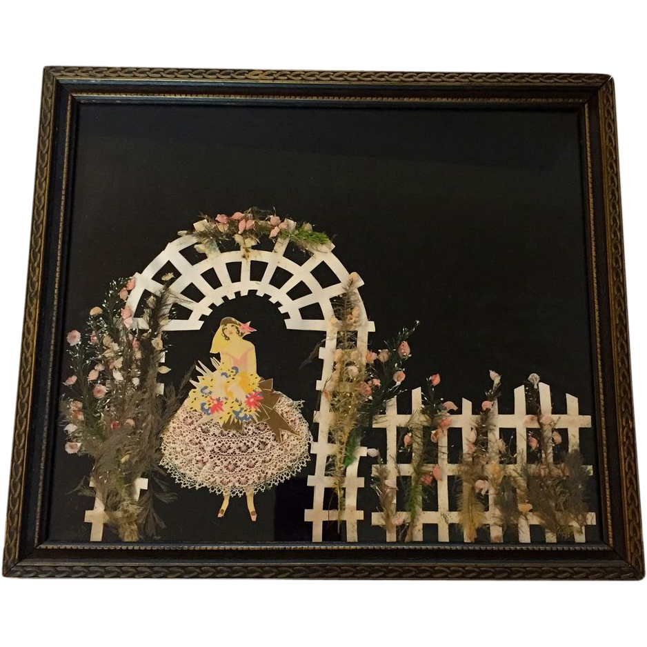 Vintage Ribbon Art Doll Picture Rare Art Deco Bride & Garden Trellis