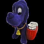 SALE Funky Flocked Purple Hound Dog Salt & Pepper Shaker Holder