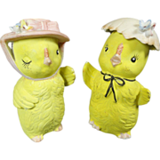 Porcelain Lefton Chick Salt & Pepper Shakers w Bonnets