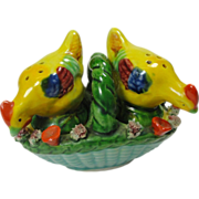 Majolica Style Colorful Chickens on Basket Salt & Pepper Shakers