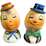 Caricature Egghead Mr & Mrs Salt & Pepper Shakers