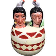 Indian Native American Nodder Salt & Pepper Shaker in Barrel