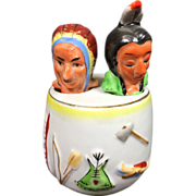 Indian Native American Nodder Salt & Pepper Shaker w Chief & Unusual Barrel